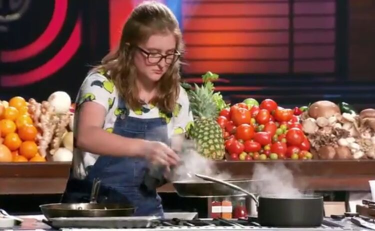 Screenshot of Samantha Daily of West Des Moines on season premier of MasterChef