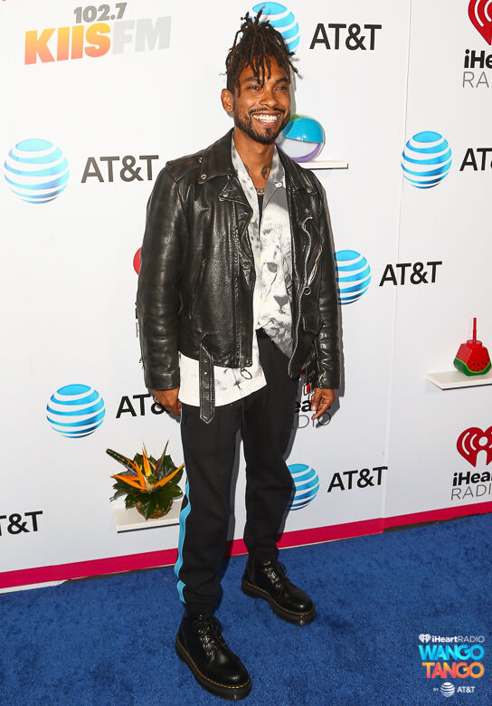 Miguel arrives at the 2018 iHeartRadio Wango Tango by AT&T at Banc of California Stadium on June 2, 2018 in Los Angeles, California.