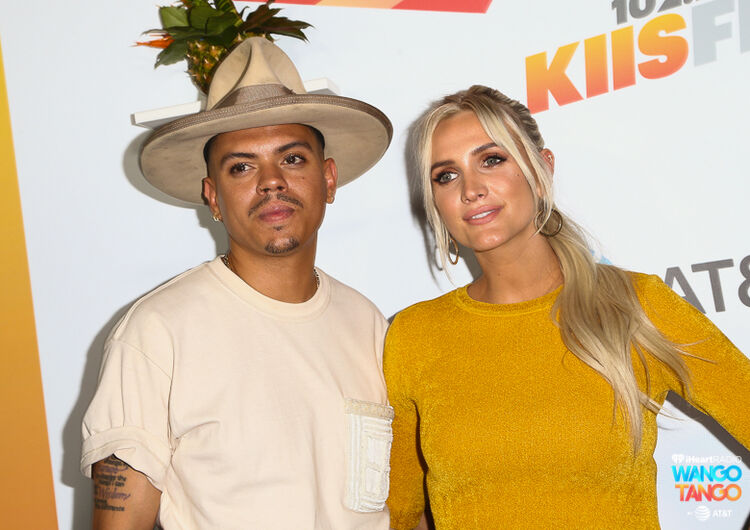 Evan Ross (L) and Ashlee Simpson arrive at the 2018 iHeartRadio Wango Tango by AT&T at Banc of California Stadium on June 2, 2018 in Los Angeles, California.
