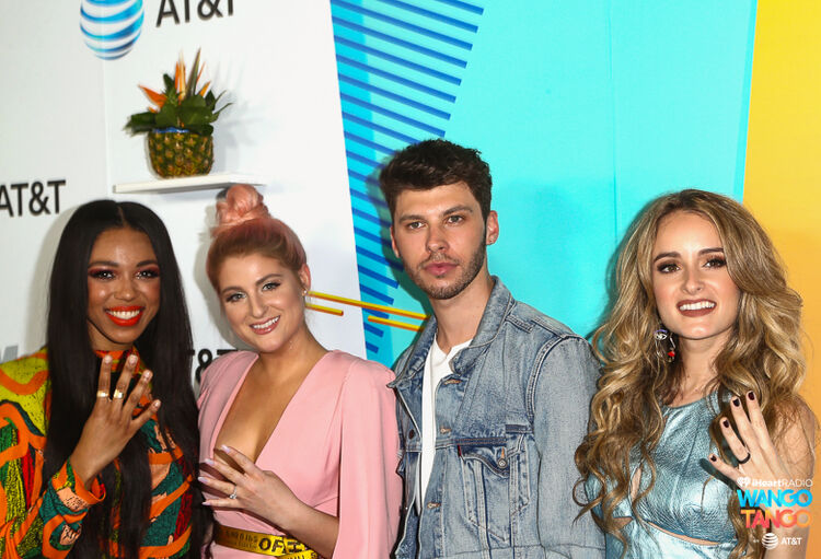 Carvena Jones, Jeghan Trainor, James Graham and Stephanie Zelaya arrives at the 2018 iHeartRadio Wango Tango by AT&T at Banc of California Stadium on June 2, 2018 in Los Angeles, California.