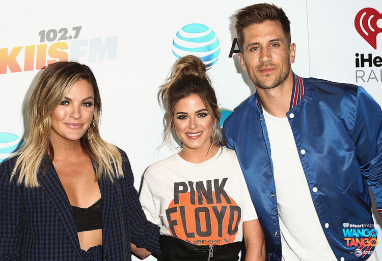 (L-R) Becca Tilley, JoJo Fletcher and Jordan Rodgers arrive at the 2018 iHeartRadio Wango Tango by AT&T at Banc of California Stadium on June 2, 2018 in Los Angeles, California.