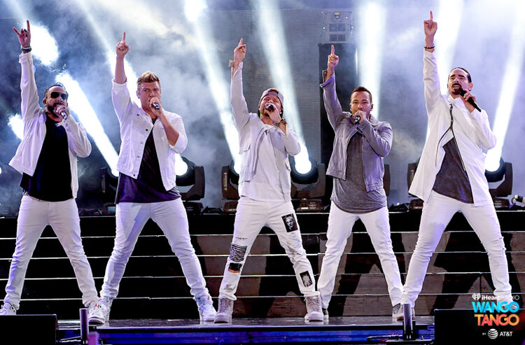 Nick Carter, Howie Dorough, AJ McLean, and Brian Littrell of music group Backstreet Boys perform onstage during the 2018 iHeartRadio Wango Tango by AT&T at Banc of California Stadium on June 2, 2018 in Los Angeles, California.