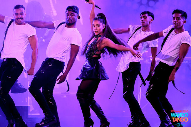 Ariana Grande performs onstage during the 2018 iHeartRadio Wango Tango by AT&T at Banc of California Stadium on June 2, 2018 in Los Angeles, California.
