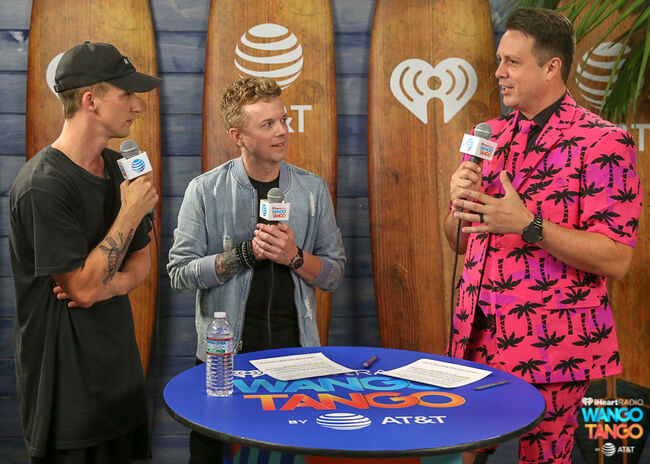 NF, JoJo Wright and Jesse Lozano backstage at the 2018 iHeartRadio Wango Tango by AT&T at Banc of California Stadium on June 2, 2018 in Los Angeles, California.