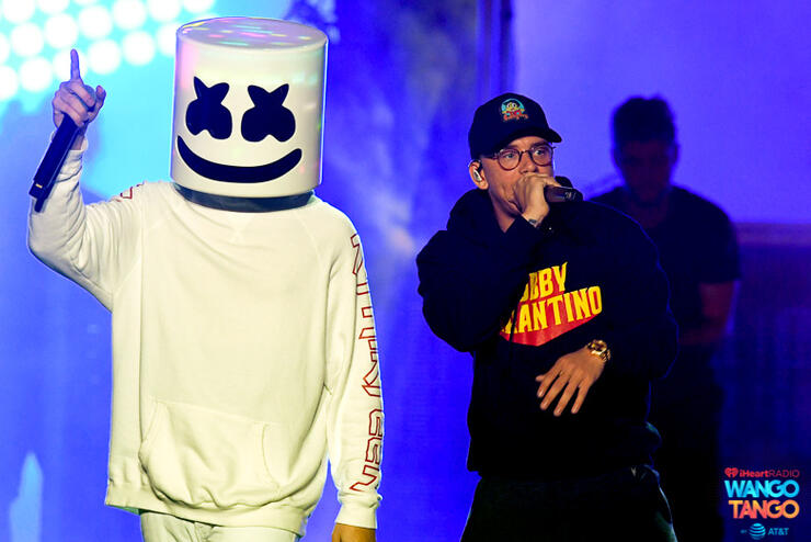 Marshmello (L) and Logic perform onstage during the 2018 iHeartRadio Wango Tango by AT&T at Banc of California Stadium on June 2, 2018 in Los Angeles, California.