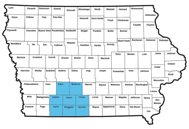 Counties included in Southern Iowa boil order SIRWA