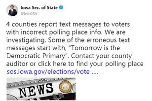 Iowa Primary UPDATE: Text messages with wrong info were campaign mistake