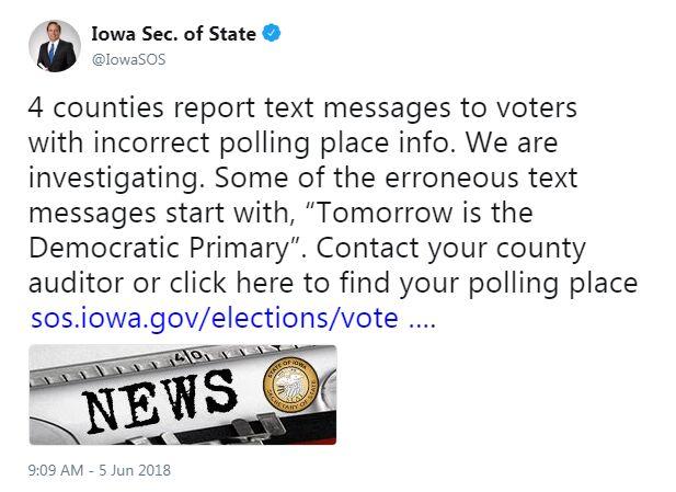 Warning Tweet from Iowa Secretary of State Paul Pate
