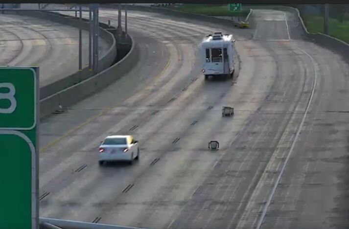 Iowa Department of Transportation video shows junk falling into interstate lanes