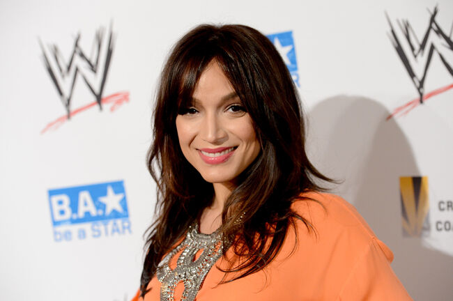 TV personality Mayte Garcia attends the WWE SummerSlam VIP Kick-Off Party at Beverly Hills Hotel on August 16, 2012 in Beverly Hills, California. (Photo by Jason Merritt/Getty Images For WWE)