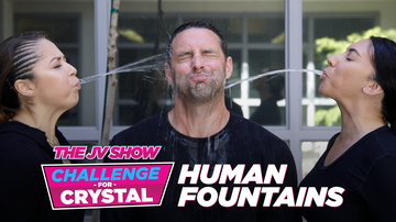 The JV Show - The @JV Show Challenge for Crystal: A Spitting Water Fountain Routine