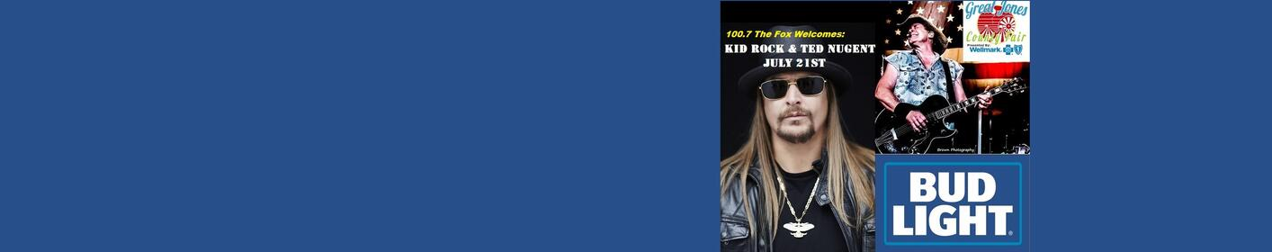 Join the Fox for Kid Rock / Ted Nugent this Sat 8pm at the Great Jones County Fair