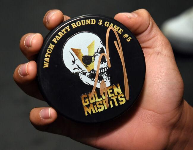 Vegas Golden Knights Round 3 Game #5 Golden Misfits puck, signed