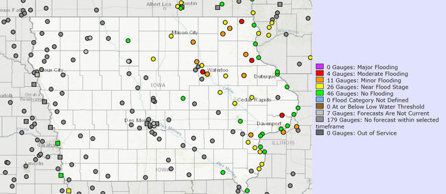 CLICK MAP for most current Iowa River levels