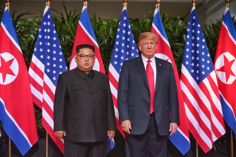 U.S. President Trump Meets North Korean Leader Kim Jong-un During Landmark Summit In Singapore-photo:Getty