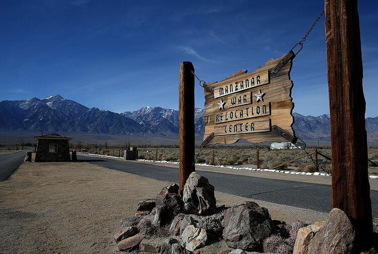 A sign is posted at the entrance to Manzanar National Historic Site on December 9, 2015 near Independence, California. Recent presidential campaign rhetoric against Muslims in the wake of terror attacks has drawn comparisons to World War II era incarceration of Japanese Americans. Manzanar War Relocation Center was one of ten internment camps where Japanese American citizens and resident Japanese aliens were incarcerated from 1942 to 1945 during World War II. (Photo by Justin Sullivan/Getty Images)