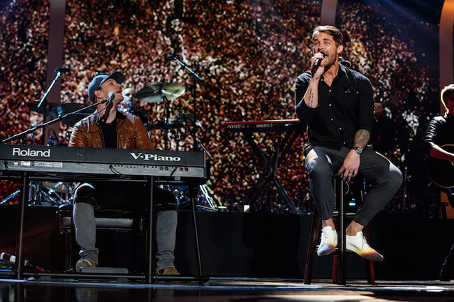 Brett Young performs with Gavin DeGraw during the 2018 iHeartCountry Festival
