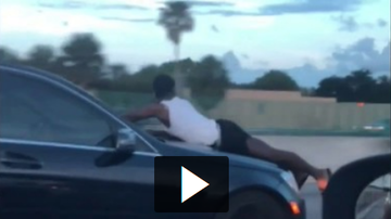 Jordan - Man Riding On Hood Going 70mph On Highway!