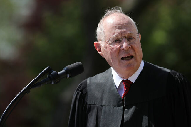 Supreme Court Associate Justice Anthony Kennedy delivers remarks before administering the judicial oath to Judge Neil Gorsuch during a ceremony in the Rose Garden at the White House April 10, 2017 in Washington, DC. Earlier in the day Gorsuch, 49, was sworn in as the 113th Associate Justice in a private ceremony at the Supreme Court. (Photo by Chip Somodevilla/Getty Images)