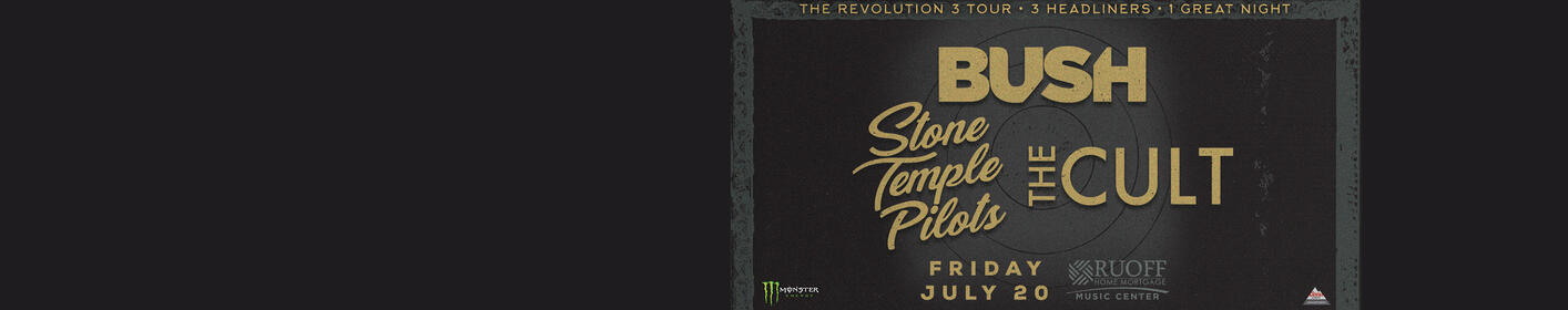 Bush, Stone Temple Pilots & The Cult July 20th at Ruoff Home Mortgage Music Center