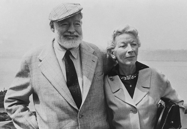 Picture dated of the 60's showing American writer Ernest Hemingway (L) with his wife on board the 'Constitution' crossing the Atlantic Ocean toward Europe. (Photo credit should read -/AFP/Getty Images)