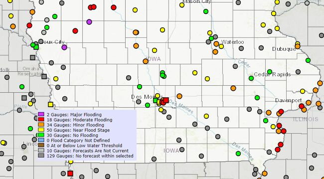 Iowa Flooding Map New flood warnings for rivers in Iowa   FLOOD MAP | 1040 WHO