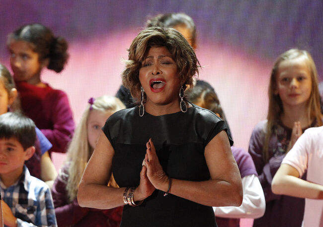 US singer Tina Turner performs during th