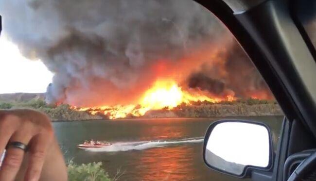 Firenado turns into waterspout