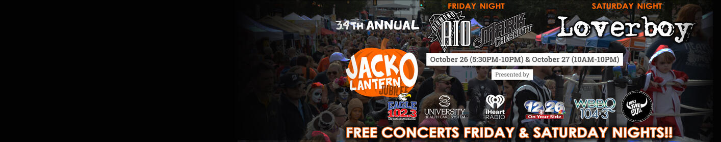 34th Annual North Augusta Jack-O-Lantern Jubilee, 10/26-27!  Free Concerts both nights!!