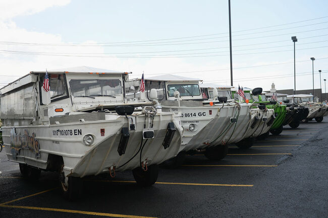 BRANSON, MO - JULY 20: The fleet of the World War II DUKW boats are seen at Ride the Ducks on July 20, 2018 in Branson, Missouri. Hundreds of mourners stopped by the location to pay their respects to the victims after a duck boat capsized in Table Rock Lake in a thunderstorm on Thursday.(Photo by Michael Thomas/Getty Images)