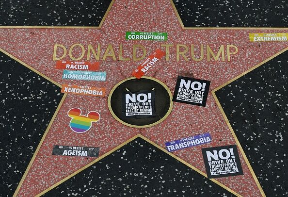 Donald Trump Walk of Fame Star protested. Getty Images