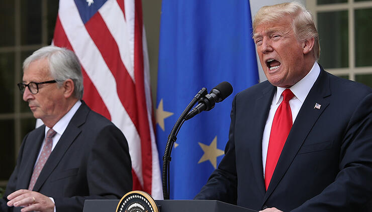 President Trump And European Commission President Jean-Claude Juncker Makes Statement In Rose Garden