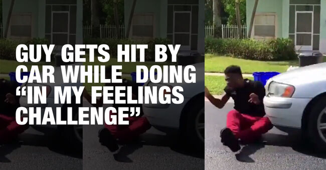 Guy Gets Hit By a Car While Doing 'In My Feelings Challenge'