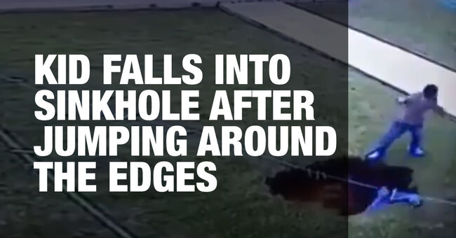 Kid Falls into Sinkhole After Jumping Around The Edges