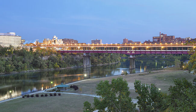 Elevated panoramic context view with Mississippi River and Washington Avenue Bridge. University of Minnesota