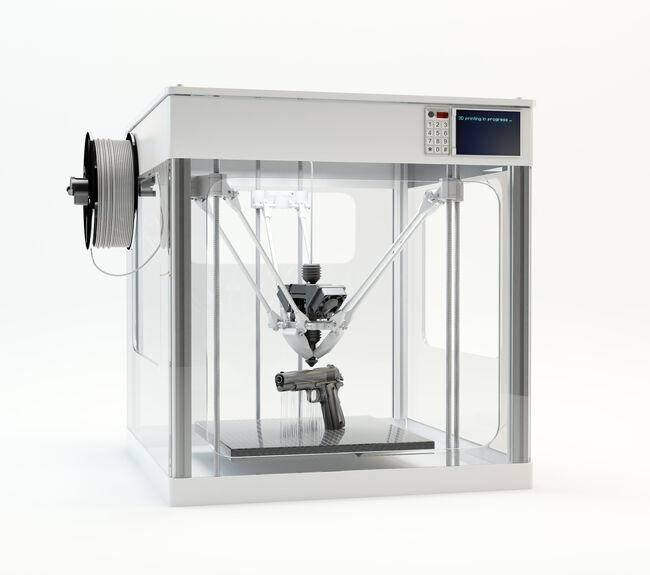 3D printer printing pistol, illustration (Getty Images Royalty Free)