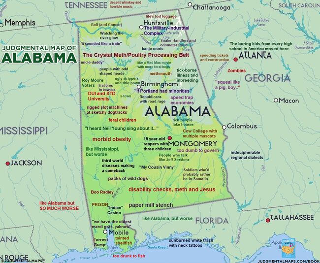 Judgmental Map of Alabama | Media Mille | 102.5 The Bull