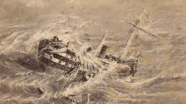 The brigantine, Mary Celeste in a cyclone in the Bermudas