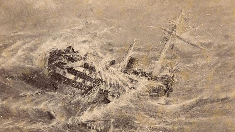 The brigantine, Mary Celeste in a cyclone in the Bermudas