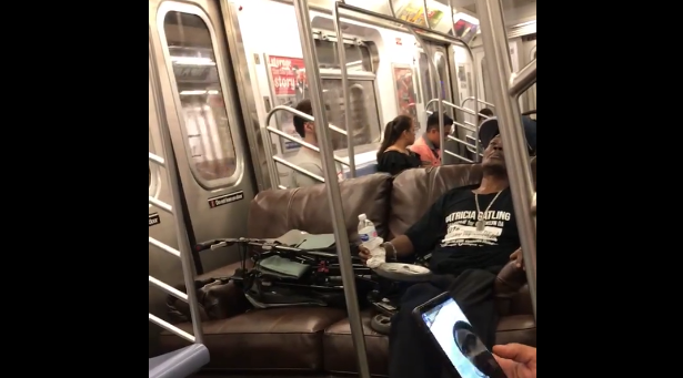 Couch guy new hero on NYC train