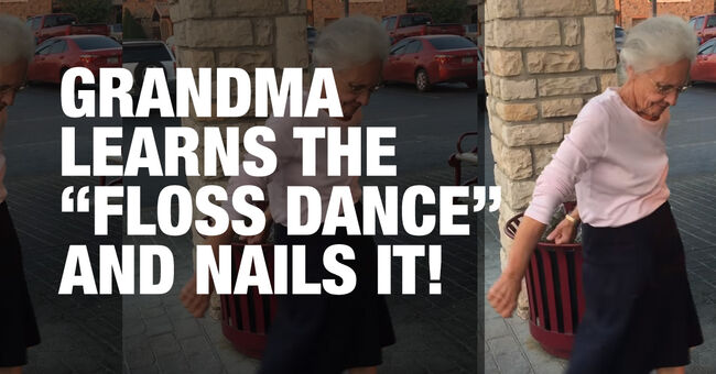 Grandma learns the Floss Dance and nails it