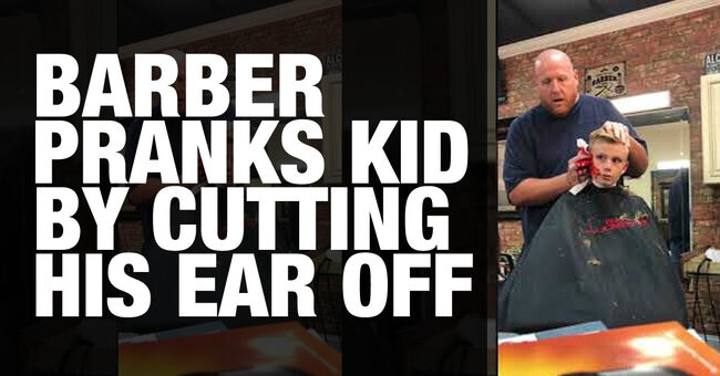 Barber cuts kid's ear off as a prank