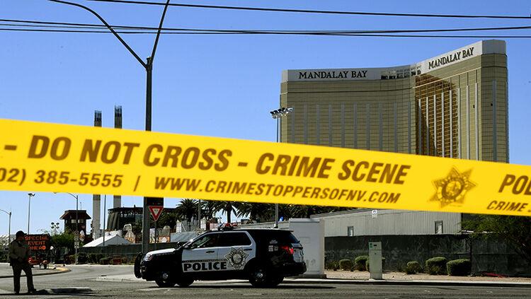 Crime scene tape surrounds the Mandalay Hotel