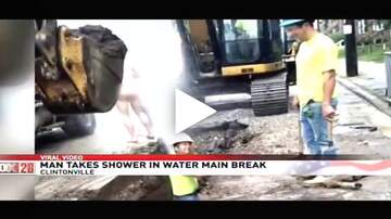The Morning Freak Show - Naked Man Showers In Street After Water Main Break