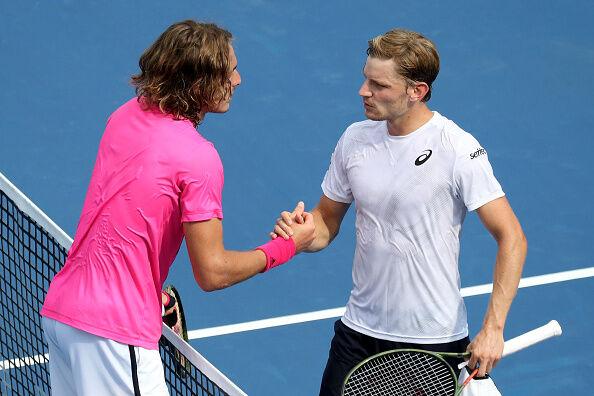 Stafanos Tsitsipas and David Goffin Post Match Handshake