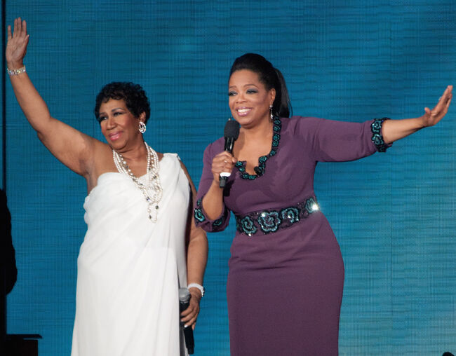 CHICAGO, IL - MAY 17: Aretha Franklin and Oprah attend Surprise Oprah! A Farewell Spectacular at the United Center on May 17, 2011 in Chicago, Illinois. (Photo by Daniel Boczarski/Getty Images)