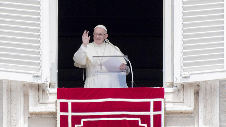 Pope Francis Blesses The Crowd During The Angelus
