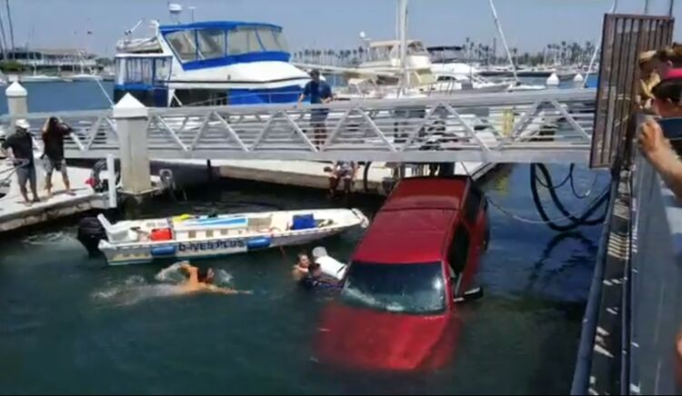 2 people, 1 dog rescued after truck falls into marina