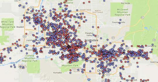 map shows registered sex offenders in phoenix