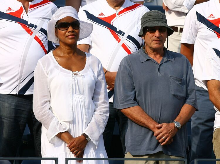 U.S. Open Day 14 NEW YORK - SEPTEMBER 09: Actor Robert Di Nero and his wife Grace Hightower stand for the performance of 'God Bless America' prior to the start of the 2007 U.S. Open Men's Final between Roger Federer of Switzerland and Novak Djokovic of Serbia during day fourteen of the 2007 U.S. Open in Arthur Ashe Stadium at the Billie Jean King National Tennis Center on September 9, 2007 in the Flushing neighborhood of the Queens borough of New York City. (Photo by Al Bello/Getty Images)
